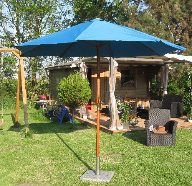sonnenschirm 3m landhausschirm 3 meter marktschirm 300cm hartholz schirm blau ebay. Black Bedroom Furniture Sets. Home Design Ideas