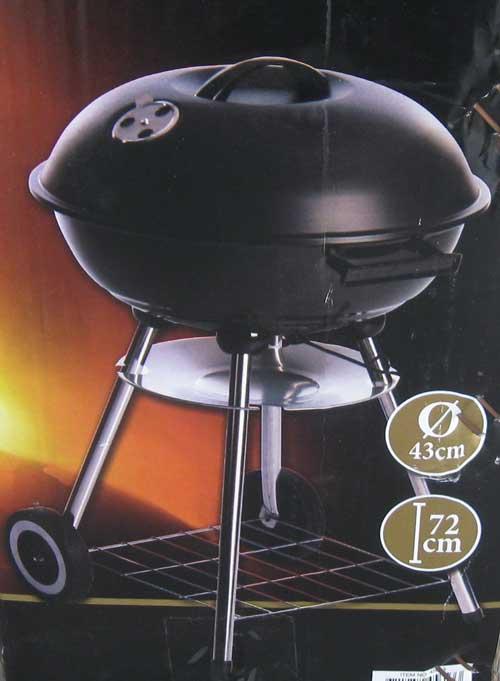 kugelgrill grillwagen mit ablagen bbq stand kugel grill mit deckel 72x43cm ebay. Black Bedroom Furniture Sets. Home Design Ideas
