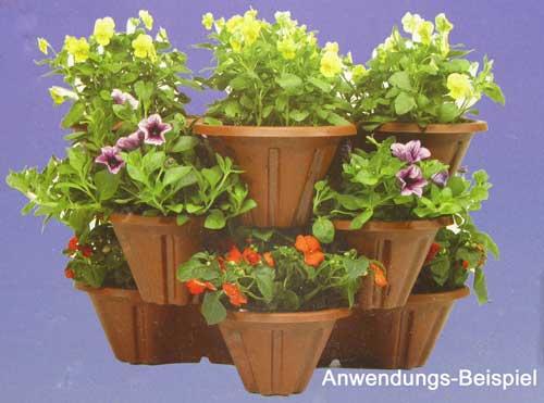 Blumentopftrio kunststoff 35cm f r pflanzen blumen topf k bel kasten stapelbar ebay - Winterbepflanzung fur balkonkasten und kubel garten ...